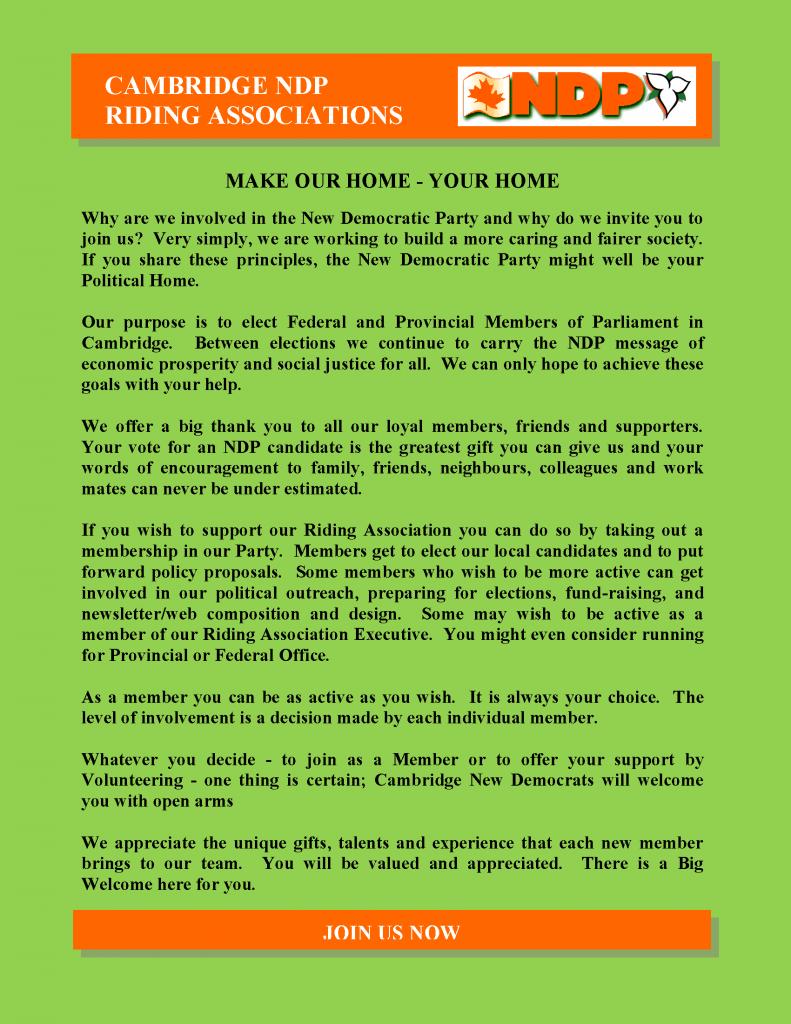 CAMBRIDGE NDP RIDING ASSOCIATIONS (web home page)