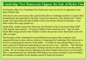 Cambridge NDP Oppose Sale of Hydro